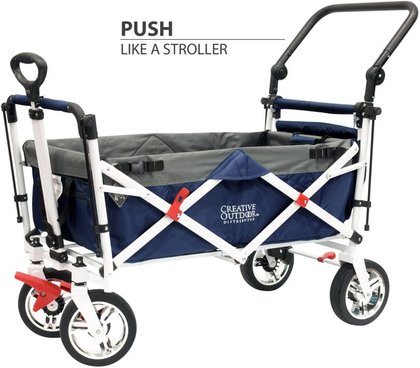 Creative Outdoor Push Pull Collapsible Folding Wagon Stroller Cart  | Navy