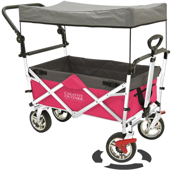 Push Pull Collapsible Folding Wagon Stroller Cart for Kids in pink colour | Sun & Rai – Wagonsrus