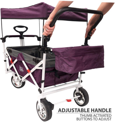 Push Pull Collapsible Folding Wagon Stroller Cart for Kids | Purple