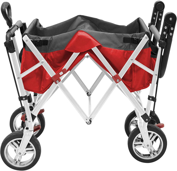 Creative Outdoor Push Pull Collapsible Folding Wagon Stroller Cart for Kids | Red