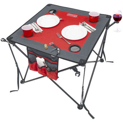 Folding Wine Table - Red/Gray
