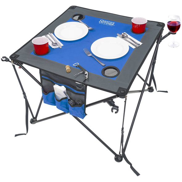Folding Wine Table - Blue/Gray