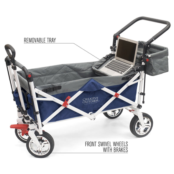 Silver Series Push Pull Folding Stroller Wagon Blue