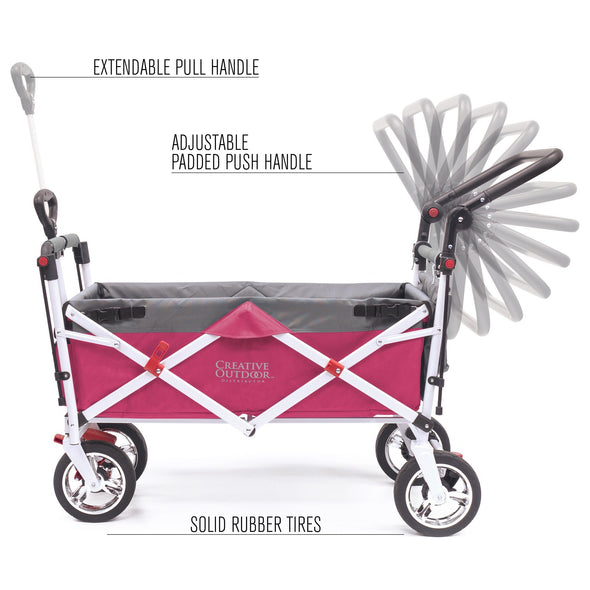Silver Series Push Pull Folding Stroller Wagon Pink