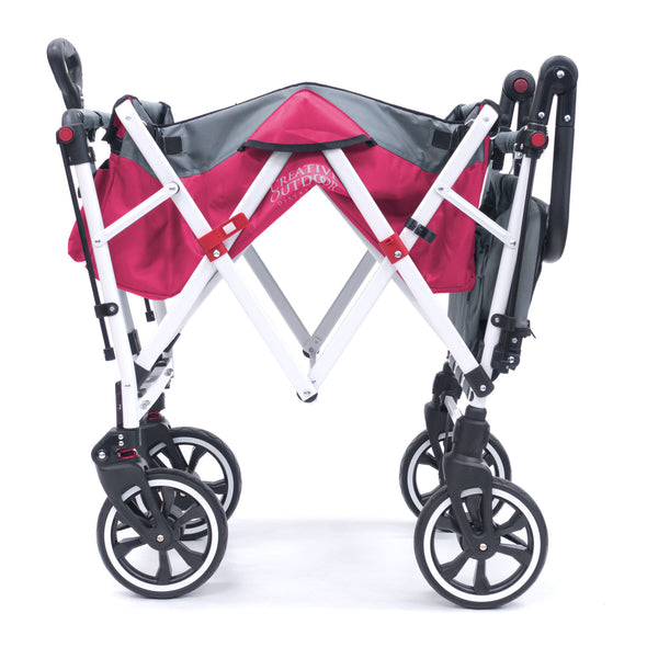 Push Pull TITANIUM SERIES Folding Wagon Stroller with Canopy | Pink