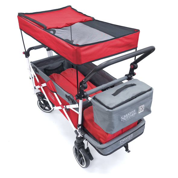 Push Pull it TITANIUM SERIES Folding Wagon Stroller with Canopy | Red