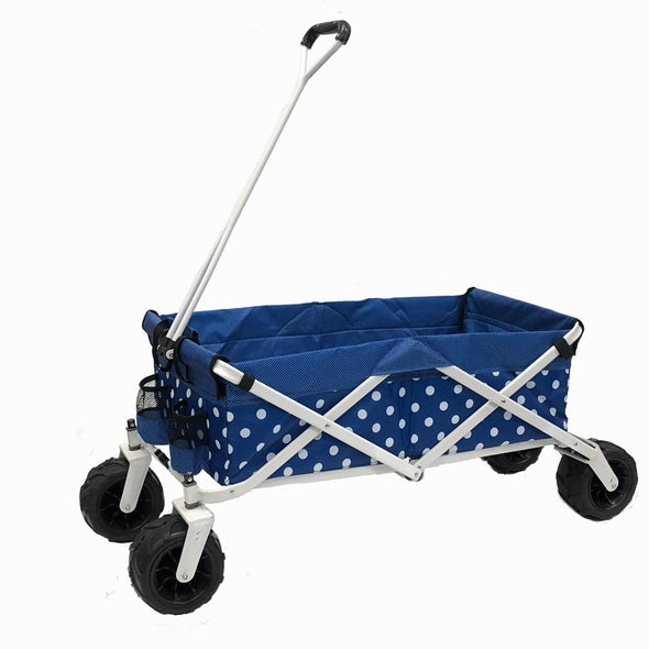 All Terrain Collapsible Folding Wagon/ Blue Polka Dot