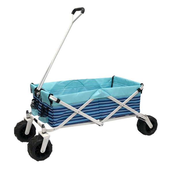 All-Terrain Collapsible Folding Wagon | Blue Stripe