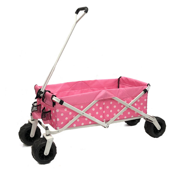 All-Terrain Collapsible Folding Wagon | Pink Polka Dot