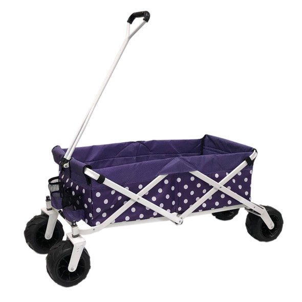 All-Terrain Collapsible Folding Wagon | Purple Polka Dot