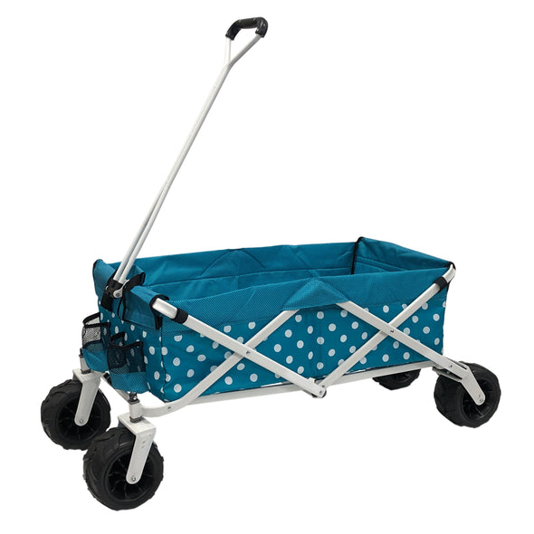 Wagonsrus All-Terrain Collapsible Folding Wagon | Teal Polka Dot