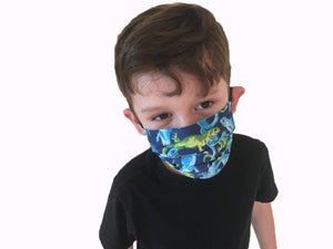 Reptiles Print - Boy's Hand Made Face Mask with pockets