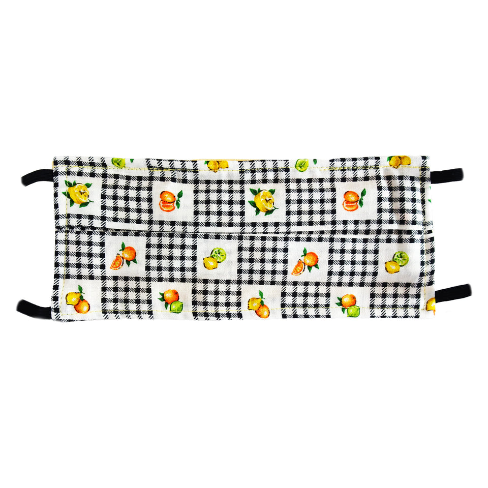 Checkered & Fruits Print - Hand Made Face Mask