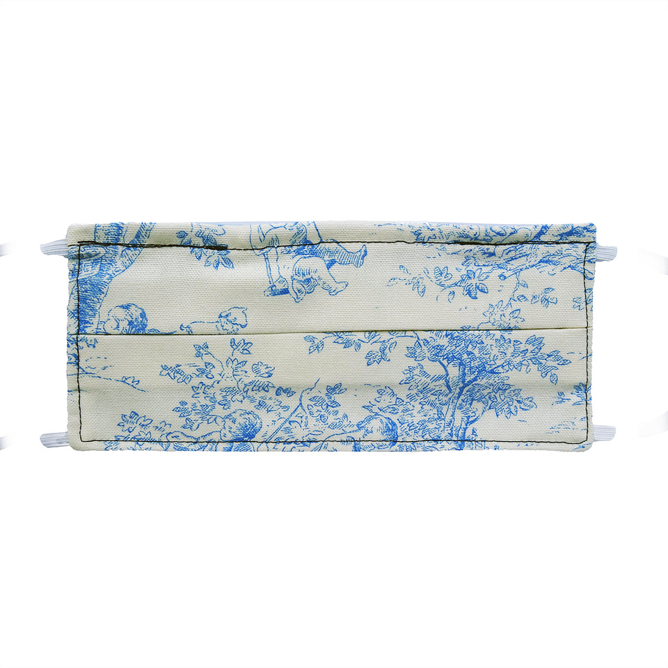 Navy Toile Print - Hand Made Cotton Face Mask with Pockets