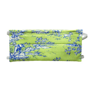 Green Toile Print - Hand Made Cotton Face Mask with Pockets