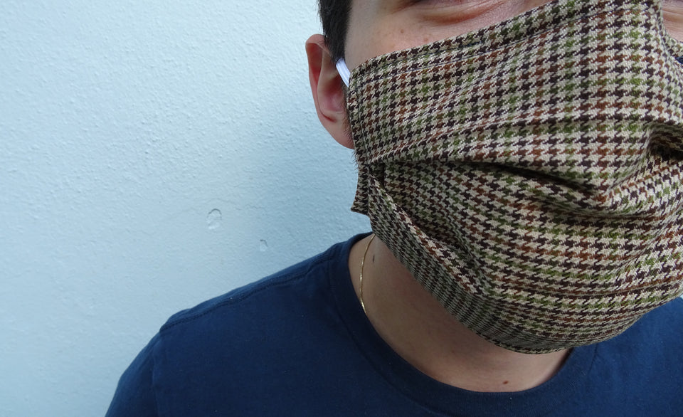 Plaid Print - Hand Made Masculine Face Mask with pockets