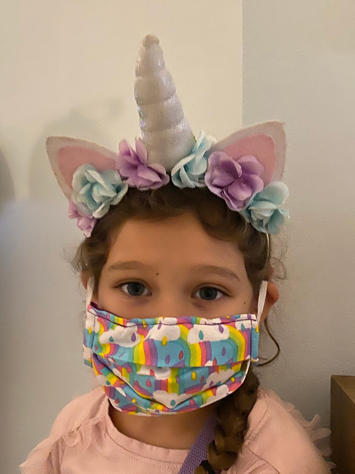 Unicorn Print - Hand Made Children's Face Mask with pockets