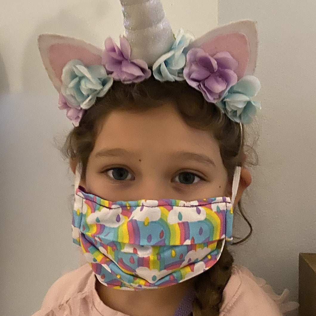 Rainbow Print - Children's Hand Made Face Mask