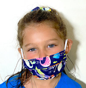 Mermaid Print Mask and Scrunchie Set - Children's Hand Made Face Mask with pockets
