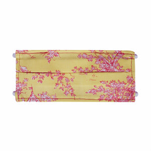 Yellow Toile Print - Hand Made Cotton Face Mask with Pockets