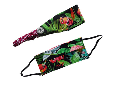 Tropical Print Mask and Head Band Set - Hand Made Face Mask