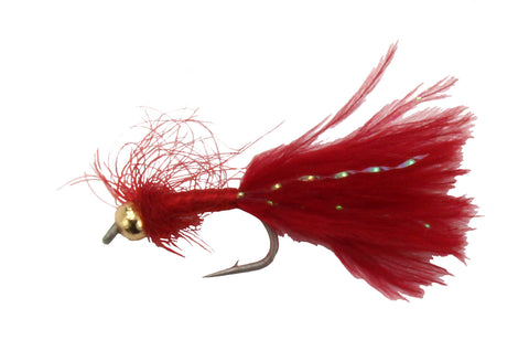 BH Blood Worm Marabou Red,Discount Trout Flies,Fly Fishing Worm Flies