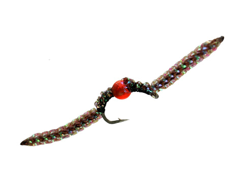 Brown Sparkle Worm with Egg, Discount Trout Flies, Fly Fishing Worm, Dryflyonline.com, best flies best prices