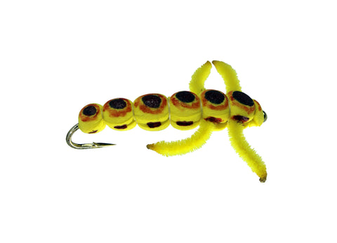 Yellow foam Caterpillar, Discount Trout Flies, Fly Fishing Flies