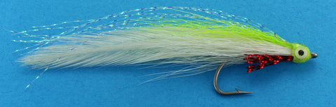 Deceiver Fly Chartreuse over White, Discount Saltwater Flies, Saltwater Fly Fishing Flies for Florida