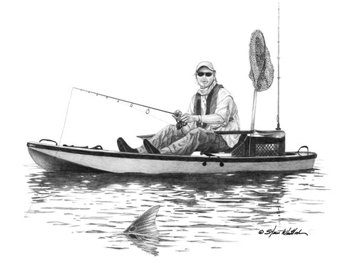 Kayak Redfish, Steve Whitlock Art Work