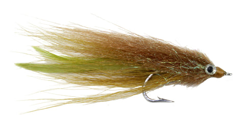 Kinky Muddler Saltwater Streamer Brown and Green Tarpon Streamer Blue Fish Blue Runner Fly Discount Wholesale Saltwater Flies