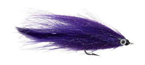 Kinky Muddler Saltwater Streamer Purple and Black Blue Fish Blue Runner Fly Discount Wholesale Saltwater Flies