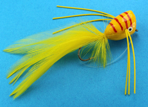 Yellow and Red Striped Popper,Bass Popper,Frog Popper, Discount Bass Popper