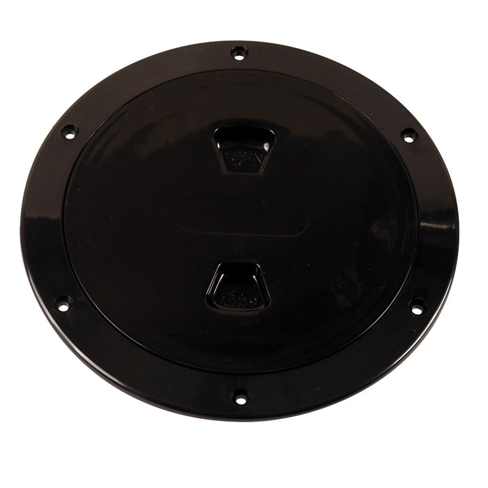 "Beckson 6"" Smooth Center Screw-Out Deck Plate - Black"