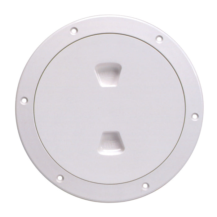 "Beckson 6"" Smooth Center Screw-Out Deck Plate - White"