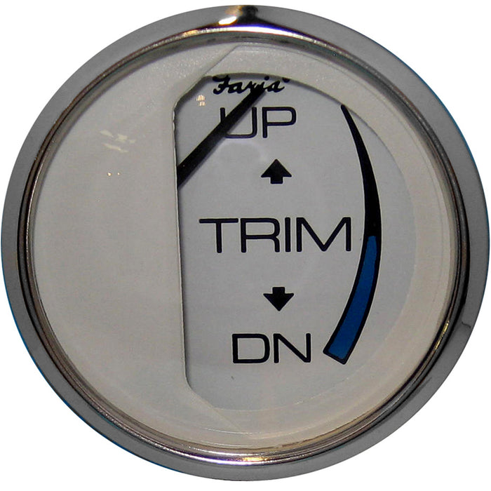"Faria Chesapeake White SS 2"" Trim Gauge (Mercury - Mariner - Mercruiser - Volvo DP - Yamaha-2001 and newer)"