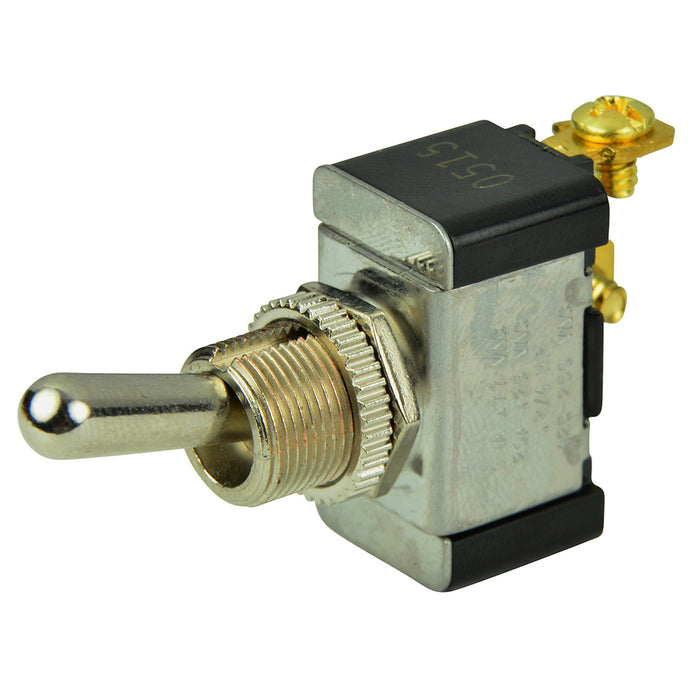 BEP SPST Chrome Plated Toggle Switch -OFF-(ON)