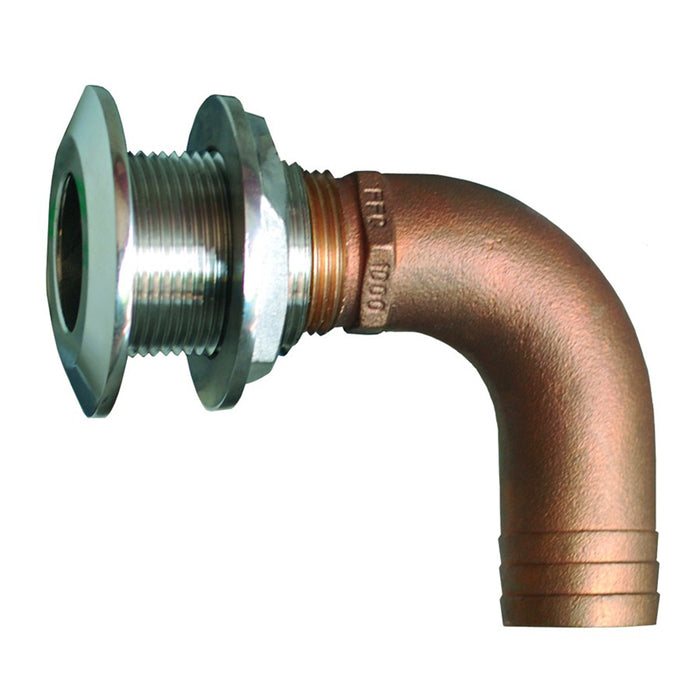 "GROCO 1-1-2"" 90 Degree Hose Thru-Hull Fitting"