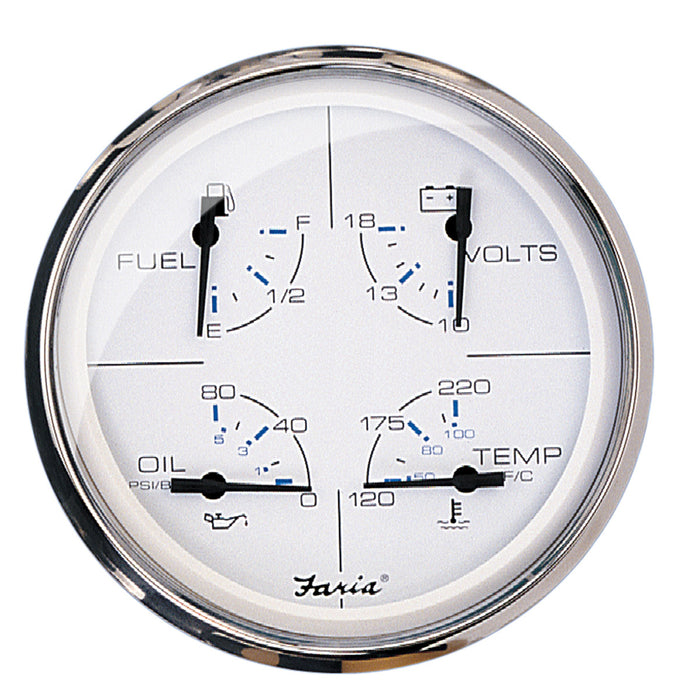"Faria 5"" Multifunction Gauge Chesapeake White w-Stainless Steel - Fuel, Oil, Water & Voltmeter"