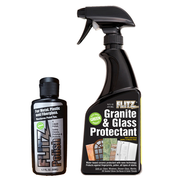 Flitz Granite & Glass Protectant 16oz Spray Bottle w-1-1.7oz Liquid Polish