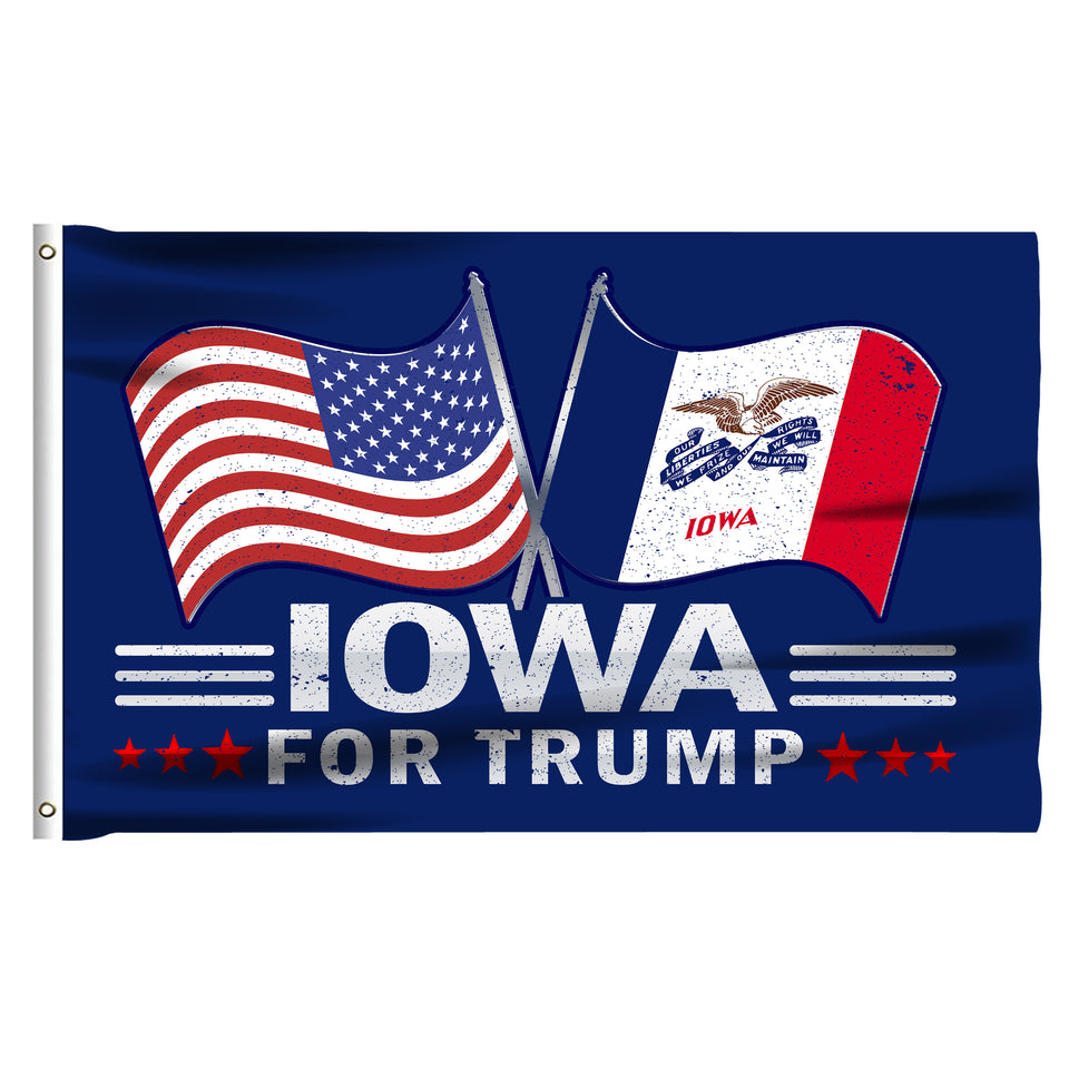 Iowa For Trump 3 x 5 Flag - Limited Edition Dual Flags Lowest Price Ever!