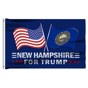 New Hampshire For Trump 3 x 5 Flag - Limited Edition Dual Flags Lowest Price Ever!