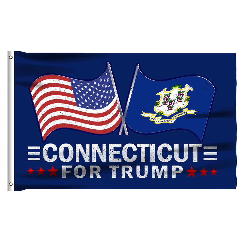 Connecticut For Trump 3 x 5 Flag - Limited Edition Dual Flags Sale