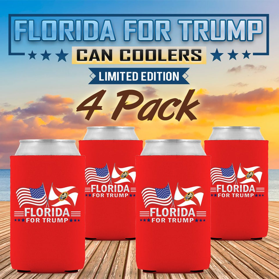 50 States For Trump  Can Coolers Limited Edition Dual Flags 4 Pack - All States Available