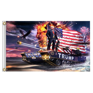 Trump on a Tank Keep America Great 3 x 5 Flag