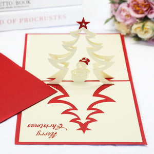 White Christmas Tree Pop Up Christmas Card