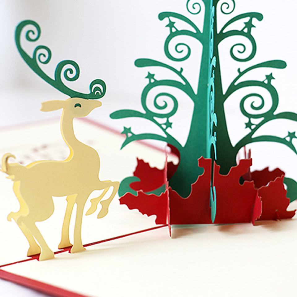 Reindeer & Tree Pop Up Christmas Card