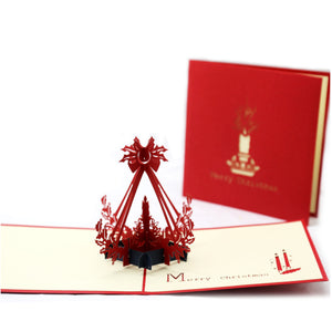 Silent Night Christmas Candle Pop Up Christmas Card