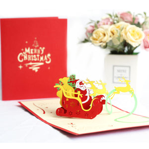 Santa's Sleigh Pop Up Christmas Card
