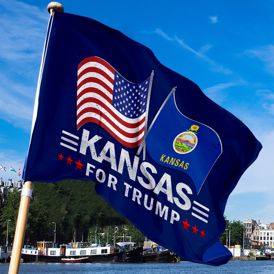 Kansas For Trump 3 x 5 Flag - Limited Edition Dual Flags Sale